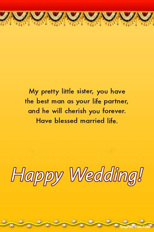 Short And Long Wedding Wishes For Sister | The wedding messages
