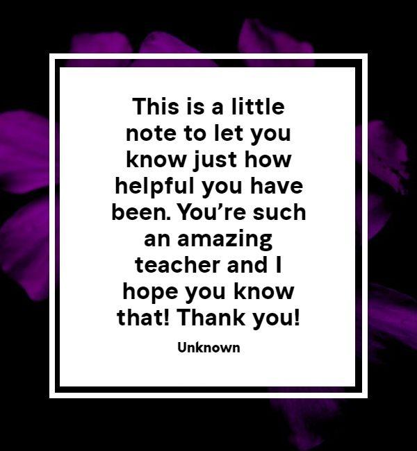 thank you message for teacher